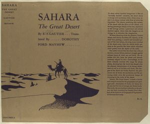 Sahara, the great desert / Authorized translation by Dorothy Ford  Mayhew. With a foreword by Douglas Johnson.