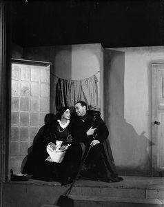 Helen Westley (Martha) and Dudley Digges (Mephistopheles).