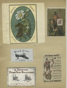 [Trade cards depicting flowers, shoes, wheelchairs, a performer and a boy holding an English flag and postage stamp.]