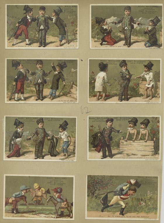[Trade cards depicting boys : attempting to steal, playing with toy horses and carrying a dummy.]