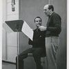 Singer Harry Belafonte and conductor/arranger Robert De Cormier during a recording session for RCA Victor Records