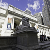Exterior of the Stephen A. Schwarzman Building, The New York Public Library's main building on Fifth Avenue between 40th and 42nd Streets with closeup of Patience one of the Library's Lions