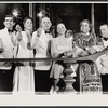 Will MacKenzie, Elizabeth Wilson, John McGiver, Margaret Ladd, unidentified actor [in background], Richard Castellano and Martin Gabel* in the stage production Sheep on the Runway