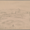 "Hardy, Emma Lavinia (Gifford). ""Mine field nr. Kirland [Cornwall]"" Original pencil sketch, with her ms. caption. 25 x 18 cm. By Thomas Hardy's first wife"