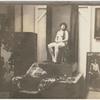 Josephine Cogdell as a nude model for artist John Garth, in his studio, circa 1920s