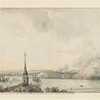 An original sketch of the Burning of Charlestown & Battle of Bunker Hill. Taken by an English Officer from Beacon Hill Boston.