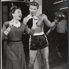 Steve Forrest and unidentified actress in the stage production The Body Beautiful