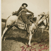 Josephine Cogdell astride her favorite horse, in Texas, ca. 1918