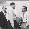 Jack Weinstock [right] and unidentified others in rehearsal for the stage production How to Succeed in Business