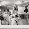 Tommy Steele (far left) and dancers in rehearsal for the stage production Half a Sixpence