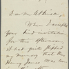 Atkinson, [Edward], ALS to. Dec. 27, [1865]. Previously [n.y.].