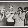 Karen Morrow, Richard Kiley, Buddy Hackett and unidentified in rehearsal for the stage production I Had a Ball