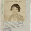 Passport photograph of sculptor Augusta Savage, date stamped August 25, 1931.