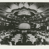 Dining area of the nightclub Billy Rose's Diamond Horseshoe with a direct view of the stage and proscenium