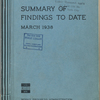 Summary of findings to date, March 1938 [Cover]