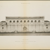 Rear Elevation. Accepted Design, Competition for The New York Public Library. Drawing for Architectural Review