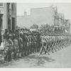 View of assembled troops of the 15th Infantry Regiment of the New York National Guard, later renamed the 369th Infantry, circa 1918.