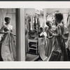 Julie Andrews being fitted for her costume for the stage production Camelot