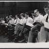 David Hurst, Robert Goulet, Julie Andrews, Richard Burton, Robert Coote, Roddy McDowall and company in rehearsal for the stage production Camelot