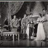 Roddy McDowall, Julie Andrews, Robert Goulet, and company in the stage production Camelot