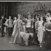 Julie Andrews, Robert Coote [center] and ensemble in the stage production Camelot