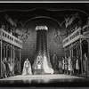 Robert Goulet, William Squire, Patricia Bredin [center] and ensemble in the stage production Camelot