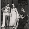 Robert Goulet, Patricia Bredin and William Squire in the stage production Camelot