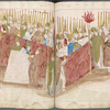 The coronation of the pope in the upper court with hundreds of bishops as retinue bearing lighted candles ff. 240-241