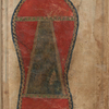 A black trapezoid representing the Kaʻbah within a large red footprint, fol. 47v