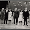 "Gretchen Wyler, John Raitt, Florence Henderson, guest host Henry Fonda, Barbara McNair, Johnny Harmon, Susan Watson, and cast members performing in the ""Lyrics by Oscar Hammerstein"" episode on the TV variety series The Bell Telephone Hour"