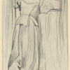 F.l. portrait of woman with back to viewer, at window