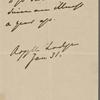 Argyll, Elizabeth Georgiana Campbell, Duchess of, ALS to SAPH. Jan. 31, [1870?]. Previously: Elizabeth Georgiana Granville.