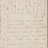Forbes, S. S., ALS to Mary [Tyler Peabody Mann]. [Mar. 1871?].