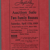 Auction Sale of thirty (30) Two Family Houses, each house to be sold separately[...]Also 32 vacant lots adjoining the houses