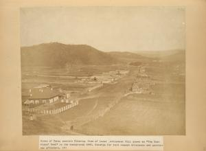 """Mines of Kara; eastern Siberia; View of Lower settlement Hill known as """"The Convicts, Head"""" in the background 1885.  Katorga for both common criminals and political offenders. (K)."""