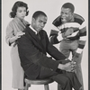 Ruby Dee, Louis Gossett, and Sidney Poitier in a studio print for the stage production A Raisin in the Sun