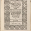 A sparke of frendship and warme goodwill, ... [Title page]