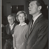 John Cromwell, Barbara Bel Geddes and Barry Nelson in rehearsal for the stage production Mary, Mary