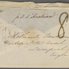 Hawthorne, Nathaniel, 4 envelopes and 1 wrapper of letters to. Postmarked Ap 14, 1856; Ap 28, 1856; My 9, 1856; no postmark, rec'd May 2d 1856; undated.