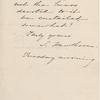 Sanborn, Franklin Benjamin, ALS to. [n.d].