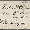 [O'Connor], Ellen, ALS to. May 15, [1874].