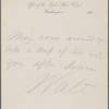 [O'Connor, William D.], ANS to. [Jan. 25, 1866].