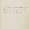 O'Connor, William [D.], ALS to. [1867?] Previously: [n.d.]