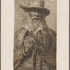 Engraving of Walt Whitman, signed, undated.