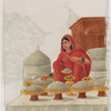 Seated female salt merchant in red sari