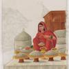 Seated female salt merchant in red sari
