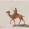 Camel rider in blue robe