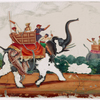 Hunting scene, leopard attacking one of two elephants, howdahs, mahouts