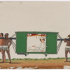 Aristocrat in white costume seated in green palanquin, carried by four bearers