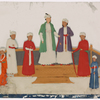 Aristocrats (9 men) standing on dais with ornate rugs
